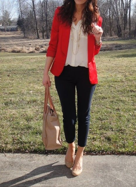 Red blazer, skinny jeans, white blouse, nude heels, long necklaces