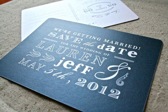 Eclectic Navy Blue Vintage Save the Date by designbybittersweet, $2.00