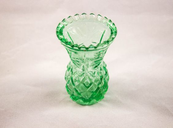 **SOLD** Vintage Green Glass Toothpick Holder by JenuineCollection on Etsy