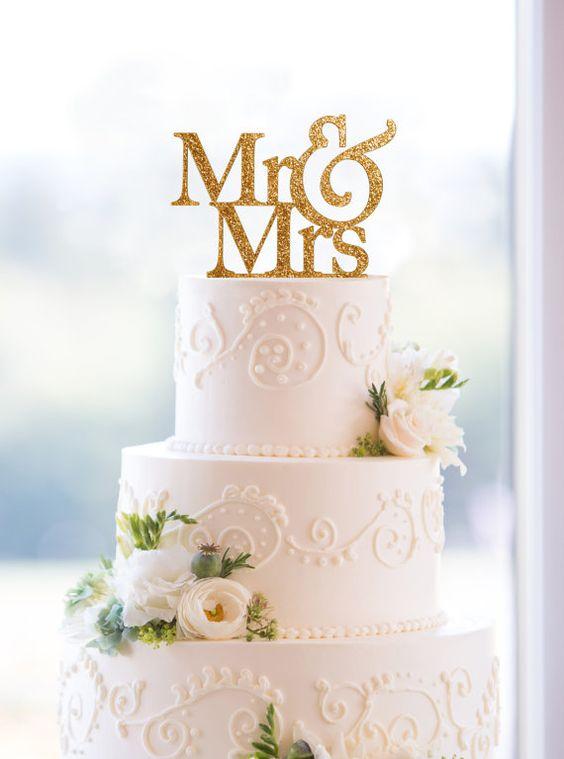 Paillettes Wedding Cake Topper - Mr et Mme Cake Topper par l'usine de Chicago