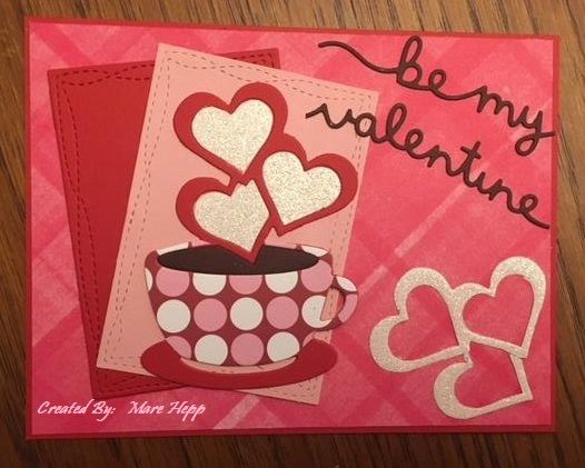 "Following Challenges, Cuttlebug Maniac ""Ventine""and Try Stamping on Tuesday TicTacToe Tuesday #1.  Die cut heart and paper piecing"