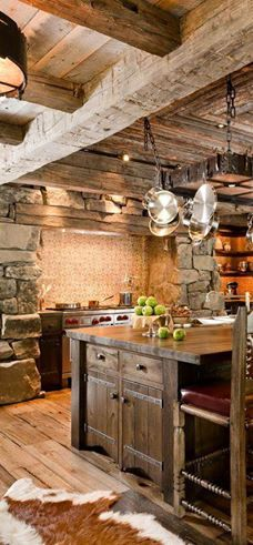 'What do ya'll think about this rustic kitchen?! I would love to see the cabin with this kitchen!