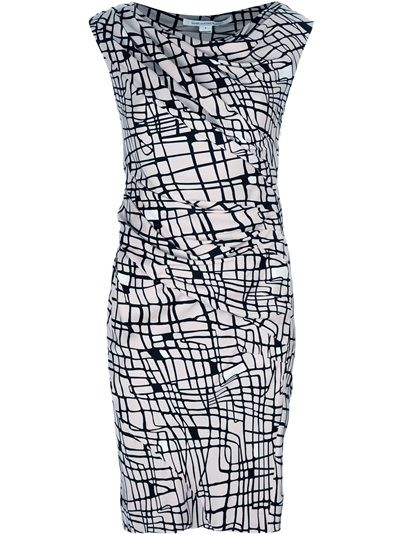 Diane von Furstenberg Ameerah printed dress.  Drape neck ruched sheath dress with contrasting black and white cable square print.