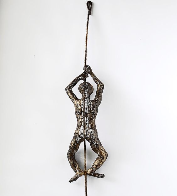 Wall Decor With Rope : Metal wall art climbing man on rope home decor