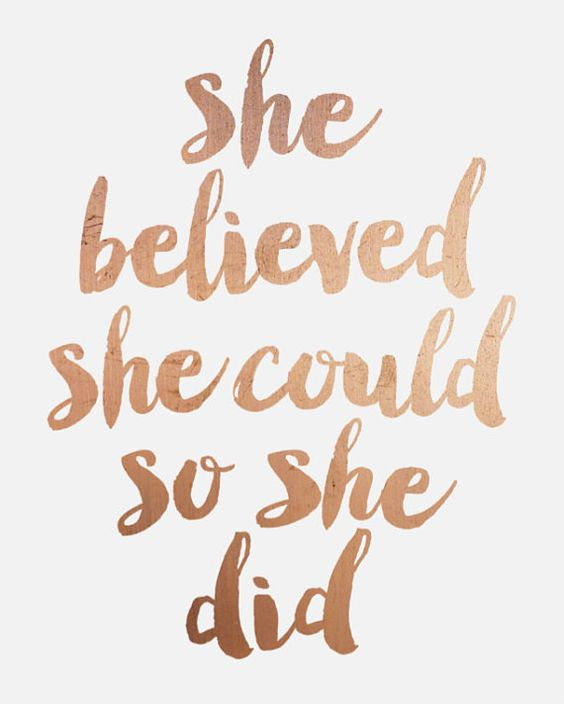 """Inspirational Print """"She Believed She Could So She Did"""" Quote PRINTABLE Rose…"""