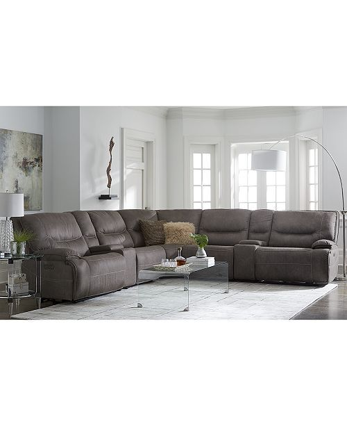 Furniture Felyx 6 Pc Fabric Sectional Sectional Sofa With 3 Power Recliners Power Headrests 2 Consoles And Usb Power Outlet Reviews Furniture Macy S In 2020 Fabric Sectional Sofas Sectional Sofa With Recliner Sectional Sofa