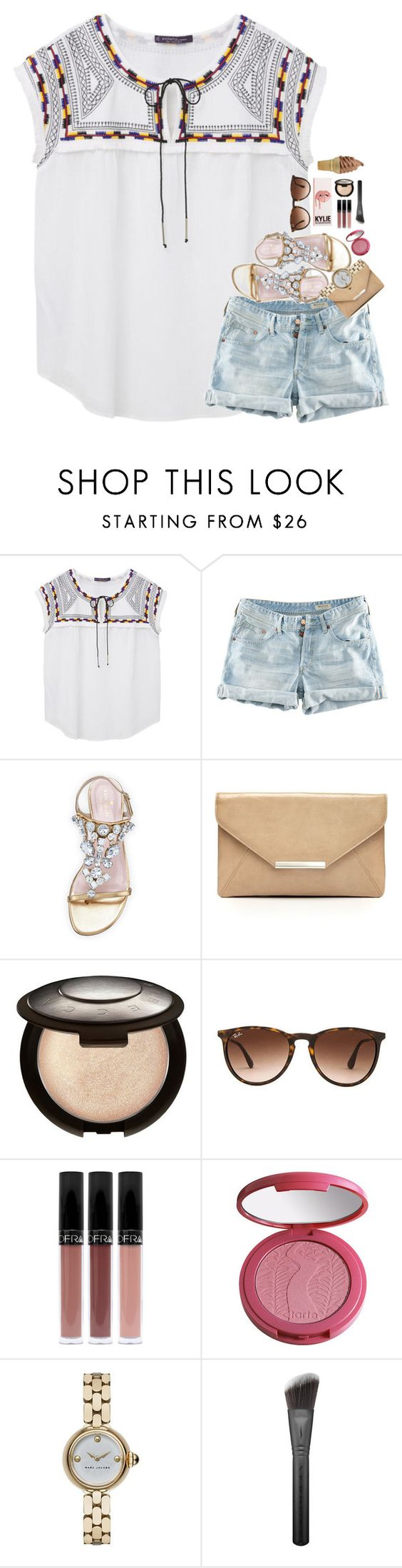"""won't be posting much for the next week..."" by sdyerrtx ❤ liked on Polyvore featuring Violeta by Mango, H&M, Kate Spade, Style & Co., Becca, Ray-Ban, tarte, Marc Jacobs and Sephora Collection"