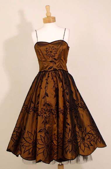 Copper Taffeta 1950's Party Dress