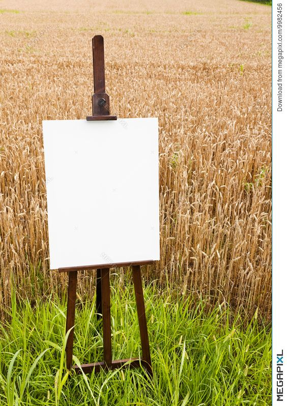 Blank canvas on an easel