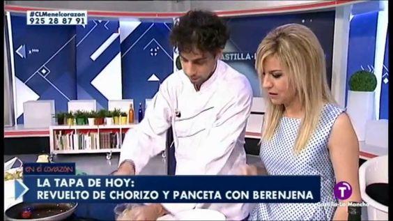 Revuelto de chorizo y panceta con berenjena.