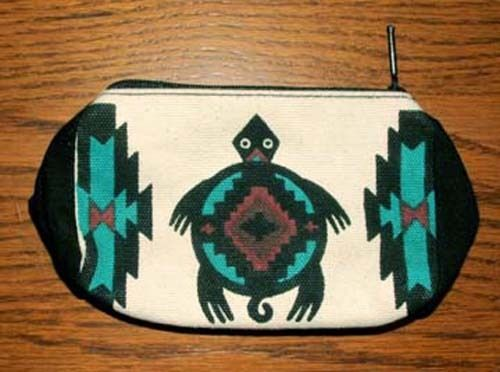 An adorable & handy coin purse with a southwest turtle design printed on both sides. Zips close.  Just $6.50 w/ free shipping!  #coinpurse #turtle #tote #southwestern