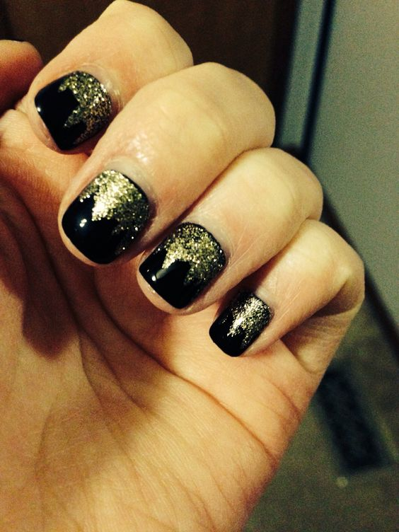 For a night out- Black and Gold nails