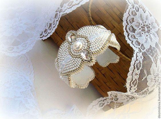 Купить Жемчужный браслет - бежевый, изящный браслет, жемчуг, хрусталь, романтичное украшение, жемчужный, кристаллы