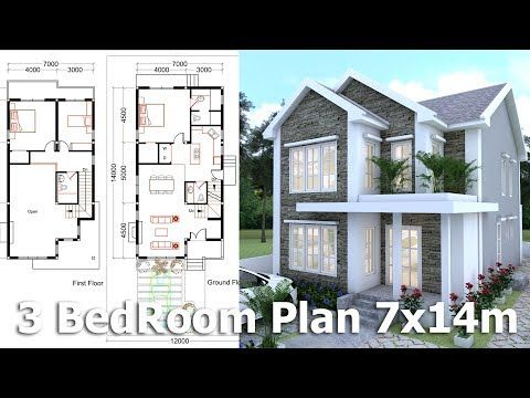 3 Bedrooms Home Plan 7x14m This Villa Is Modeling By Sam Architect With 2 Stories Level It S H Small Apartment Floor Plans House Plans Home Design Floor Plans