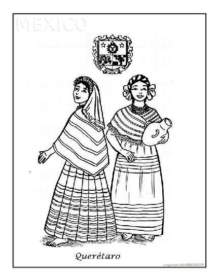 Dibujos para colorear trajes típicos mexicanos