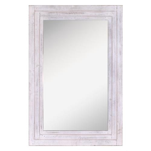31 25 In L X 44 In W Distressed White Framed Wall Mirror In 2020