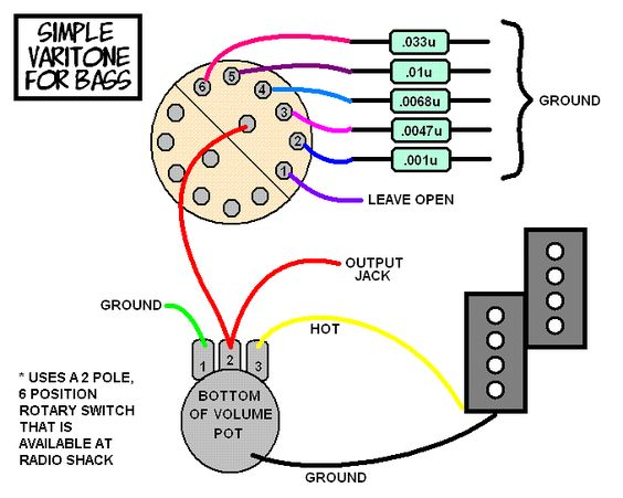 easy electric bass wiring diagrams a simple varitone circuit for your bass - - talkbass ... carvin bass wiring diagrams #5