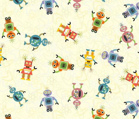 Spoonflower robots and fabrics on pinterest for Baby monkey fabric prints