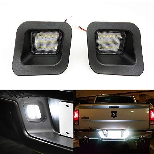 Xinctai 2pcs Led Rear License Plate Lamp Light For 2003 To 2018 Dodge Ram 1500 2500 3500 Pickup Truck Super White White Led Lights Dodge Ram 1500 Super White