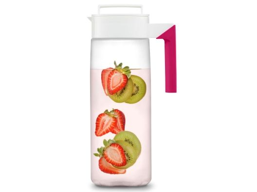 Fruit Infusion Water Pitcher by Takeya - it has a filter screen that keeps the fruit in the canister, while you get H2O