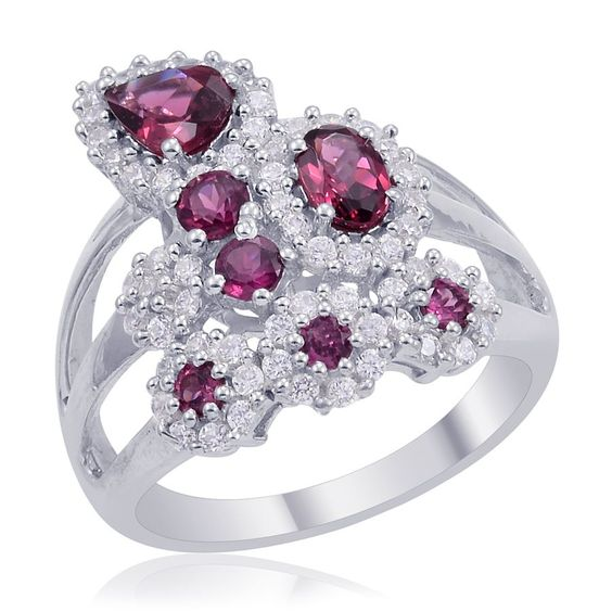 Orissa Rhodolite Garnet and Simulated Diamond Ring in Platinum Overlay Sterling Silver (Nickel Free) | #CustomerCreations