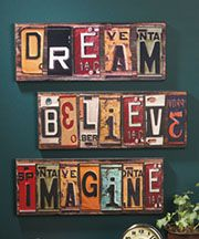 Makes me want to head to the flea markets to find old license plates - would be cool for boys rooms with their names