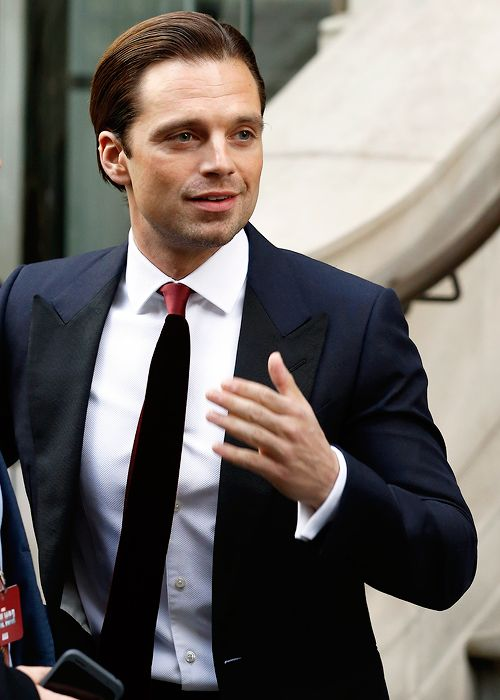 clark-kents: Sebastian Stan leaves the Cortinthia Hotel ahead of the Captain America: Civil War UK premiere on April 26 2016 in London England.