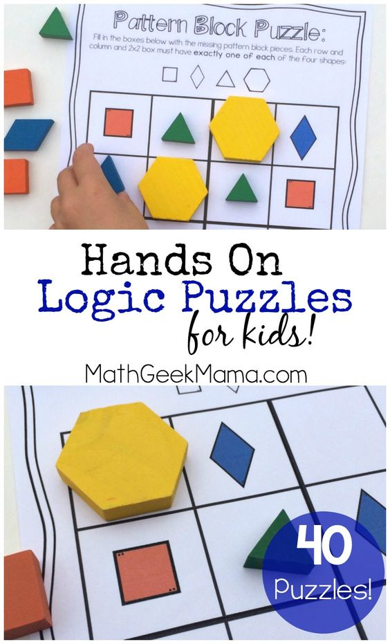 This awesome set of 40 hands on logic puzzles is a great way to get kids thinking and using their logical reasoning skills! Includes 4 different variations in color and black and white!: