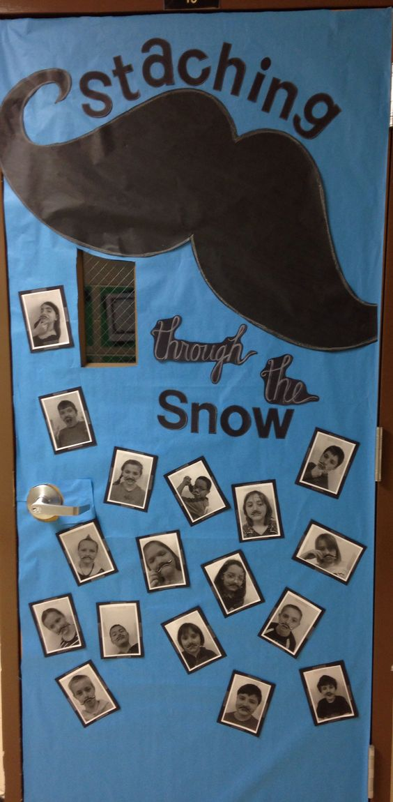 Mustache Classroom Decor ~ Snow classroom and doors on pinterest