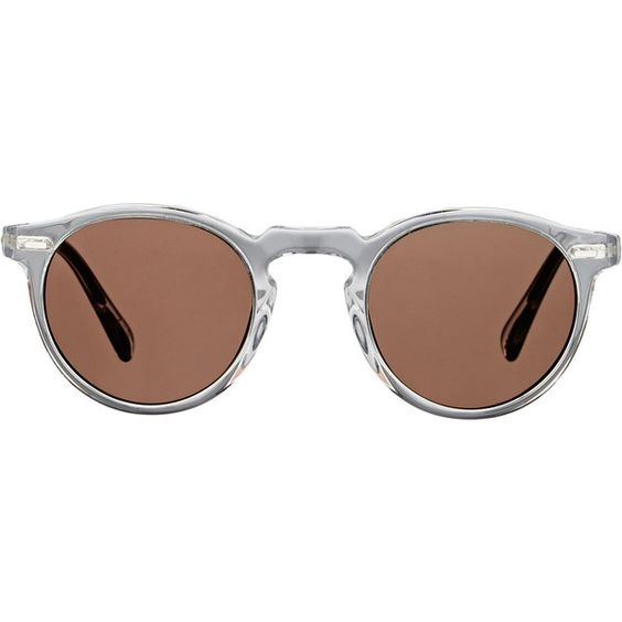 Oliver Peoples Gregory Peck Sunglasses ($450) ❤ liked on Polyvore featuring accessories, eyewear, sunglasses, glasses, brown, round keyhole sunglasses, oliver peoples sunglasses, keyhole sunglasses, round glasses and rounded sunglasses