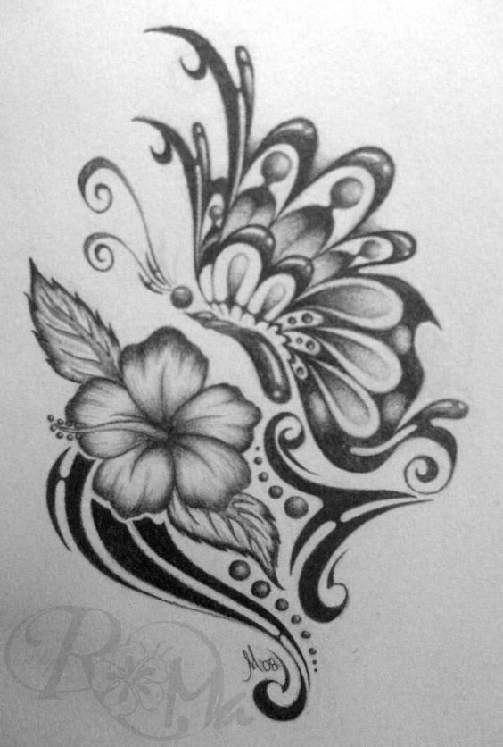 Cool butterfly drawings tribal butterfly and flower for Cool drawings of butterflies