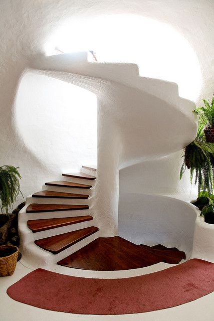 Wow, beautiful spiral staircase with wood steps
