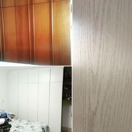 Neste trabalho demos um toque de madeira no armário. Utilizamos Revestwall Legno…