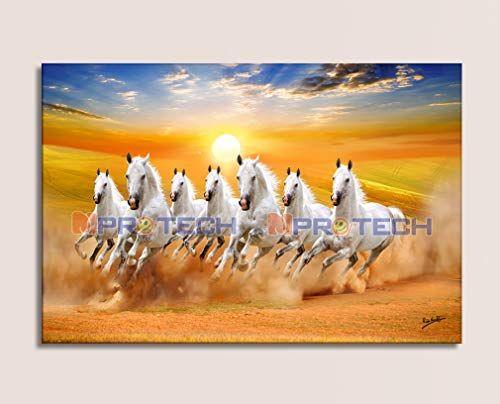 Mpro Tech 7 Horse Seven Running Horses Vastu Painting For Living Room 7 Horses Painting Big Running Horses Painting Horses Running Painting 7 Horse Painting Paintings for living room vastu