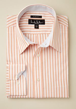 NICOLE MILLER Striped Checkered Lining Slim Fit Shirt