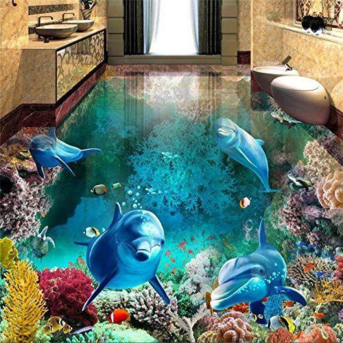 Benutzerdefinierte Foto Bodentapete 3d Stereoscopic Dolphin Ocean Badezimmer Boden Wandbild Badezimmer Benu Floor Murals 3d Floor Painting Floor Wallpaper