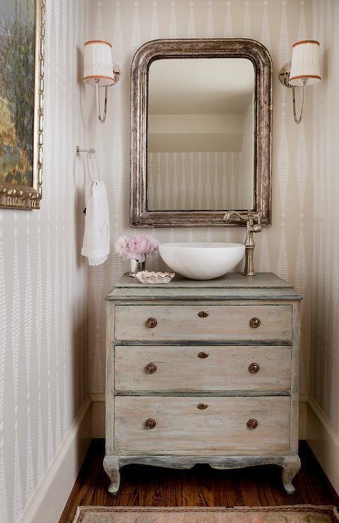 Schumacher Fern Tree Wallpaper in Bone 5005071 in Bathroom (Also comes in Ebony/Ivory)