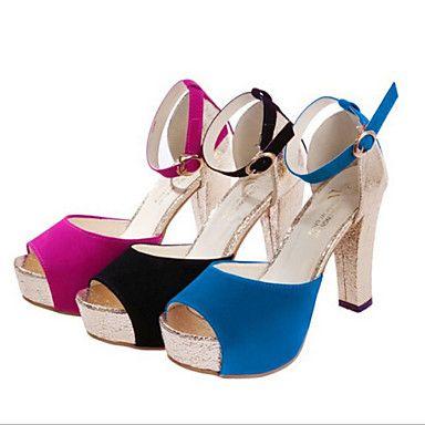 Pumps/Heels ( Borracha/Camurça , Preto/Azul/Fúcsia ) Sapatos de Senhora - Salto Massudo - 6-9cm – BRL R$ 47,85