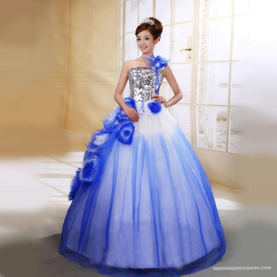 blue wedding dress or a really ugly prom dress....remember when ...