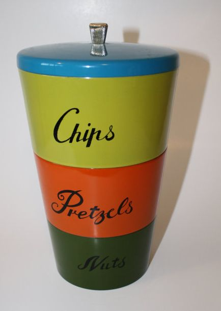 1960s Stacking Canister Set // Party Snack Containers // Chips Pretzels Nuts // Made in Japan
