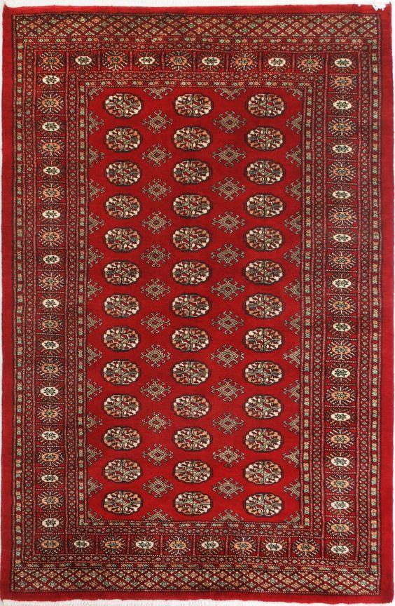 "Red Bokhara Persian Rug 4' 2"" x 6' 4"" (ft) http://www.alrug.com/9606"