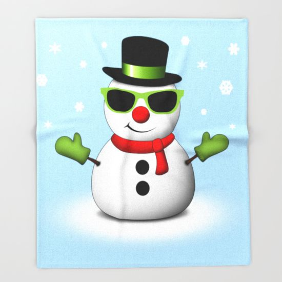 Cool Snowman with Shades and Adorable Smirk with Snowflakes Light Blue Throw Blanket by #PLdesign #snowman #CoolSnowman #WinterGift - FREE SHIPPING + Up to $30 Off Throw Blankets - Ends 12/12/2015 at Midnight PT!