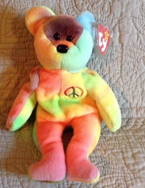 b07e992bef8 RARE TY BEANIE BABY PEACE BEAR  Multiple Errors Which Adds to The Value.