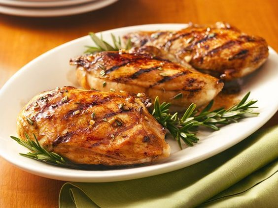 Balsamic-Glazed Grilled Chicken Breasts. The secret to this shiny and golden-brown barbecued chicken is a simple, tangy glaze made with brown sugar.