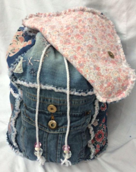 Jeans Patchwork Rucksack von poppypatchwork auf Etsy