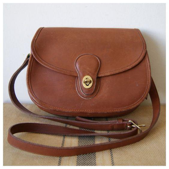 Vintage Coach Crossbody Purse. Brown Leather Bag. Prairie Saddle Shoulder Bag. Coach 9954.