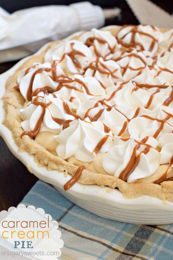 Caramel Cream Pie com um fácil, torta caseiro crosta receita!  Você consegue fazer isso!  #piday #criscoknowspie