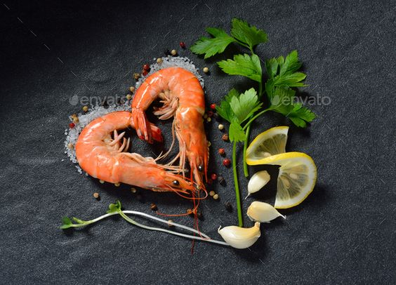 shrimps,prawns by amenic181. Cooked shrimps,prawns heart shape with seasonings on stone background#Cooked, #shrimps, #prawns, #heart