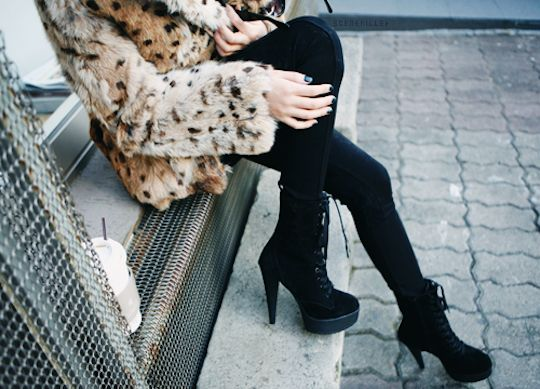 Perfect every-day high heel lace-up booties...