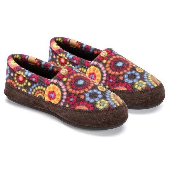 Woman's Acorn Slippers - Chocolate Circles Fleece Moccasins - MEDIUM #Acorn…